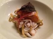 spaghetti al prosciutto con calamari
